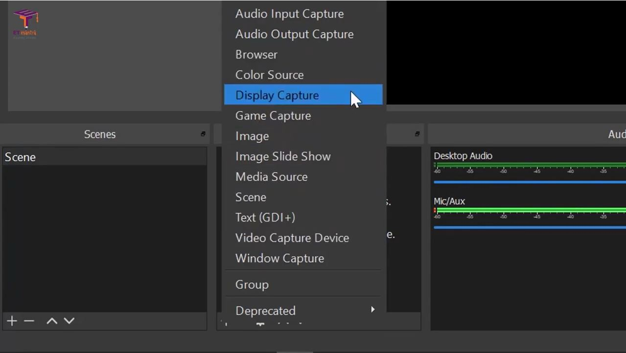 add computer screen in OBS