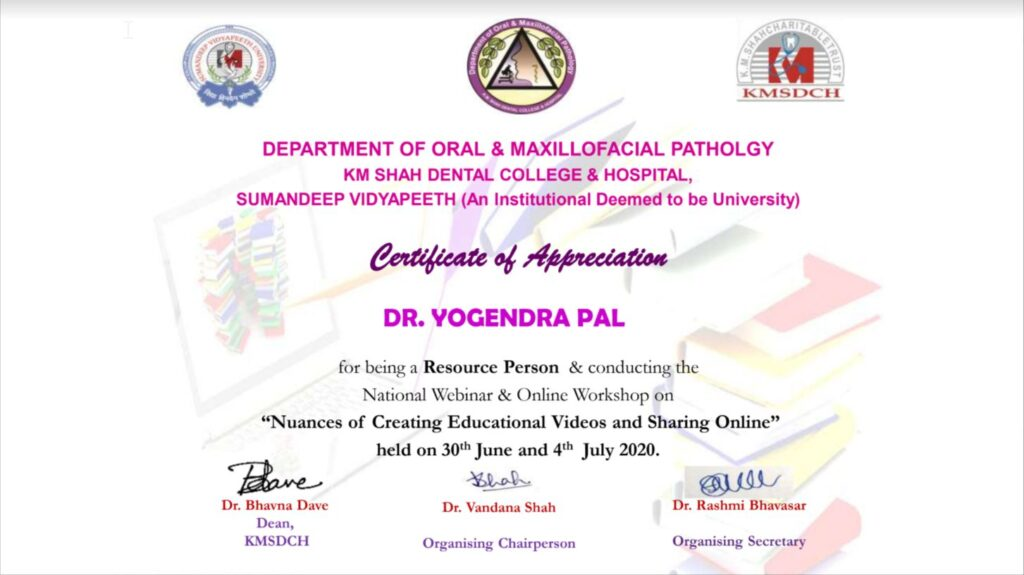 Certificate of Appreciation from KM Shah Dental College