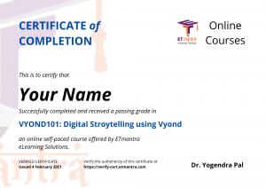 Certification of Completion in Vyond
